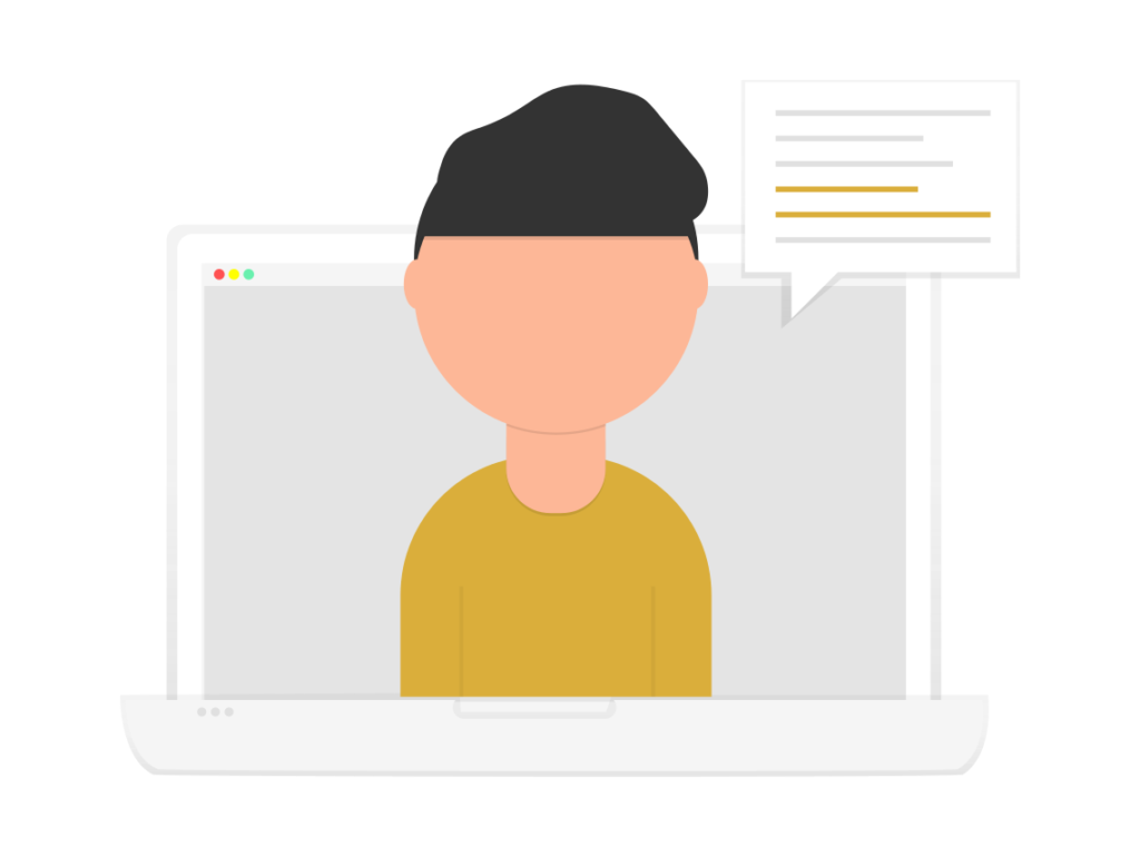 illustration of young boy on laptop screen
