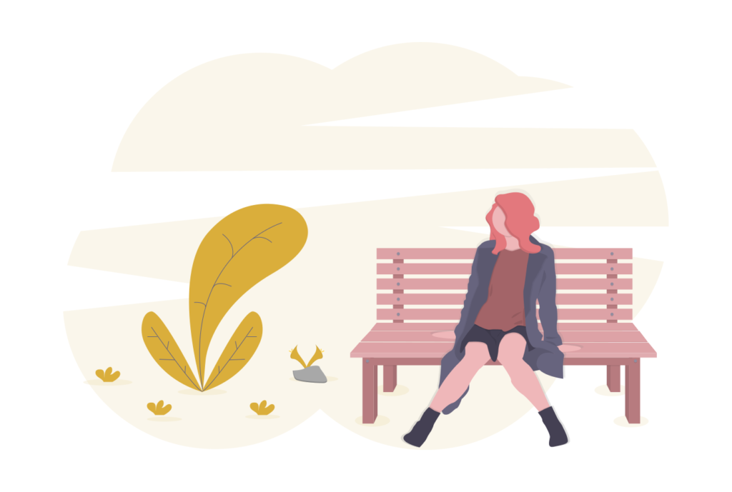 girl sat on bench